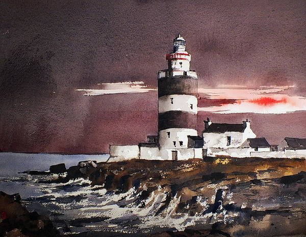 Painting - Sunset On Hook Head Wexford by Val Byrne