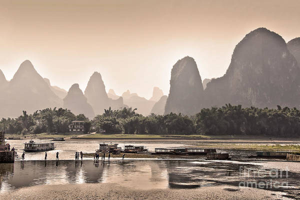 Wall Art - Photograph - Sunset On Li River by Delphimages Photo Creations