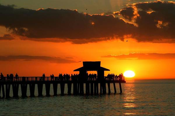 Photograph - Sunset On Naples Pier by Rick Locke