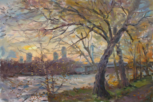 Niagara Falls Wall Art - Painting - Sunset On Niagara River  by Ylli Haruni