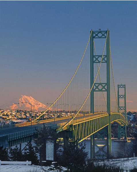 1a4y20-v-sunset On Rainier With The Tacoma Narrows Bridge Art Print