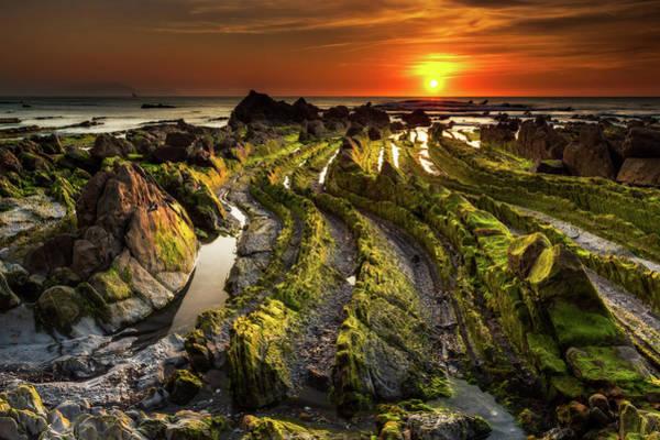 Bilbao Photograph - Sunset On Rocks Of Barrika Beach Facing by © Francois Marclay