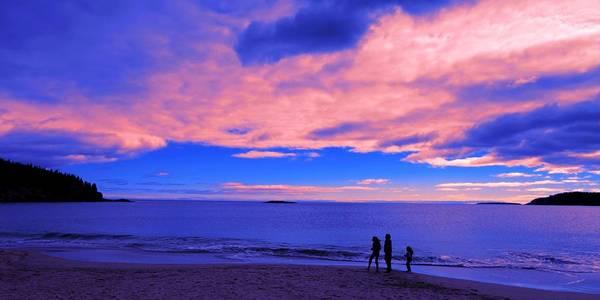 Wall Art - Painting - Sunset On Sand Beach Acadia National Park Maine by Paul Ge