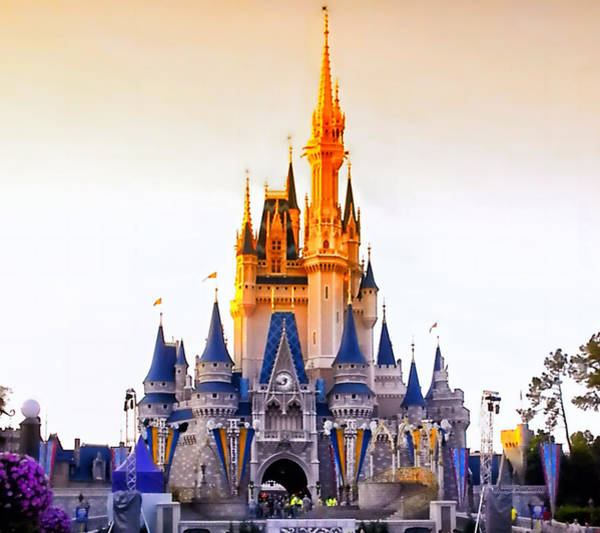 Wall Art - Photograph - Sunset On The Castle Walt Disney World by Thomas Woolworth