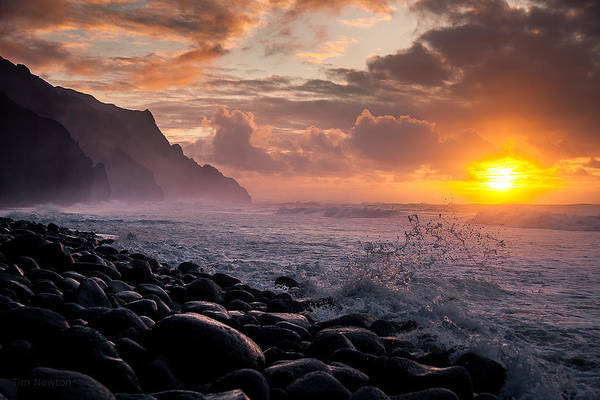 Photograph - Sunset On The Kalalau by Tim Newton