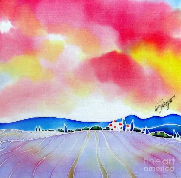 Painting - Sunset On The Lavender Farm  by Hisayo Ohta