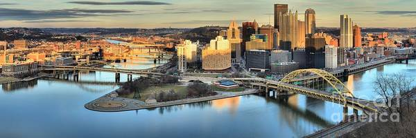 Photograph - Sunset On The Pittsburgh Skyline by Adam Jewell