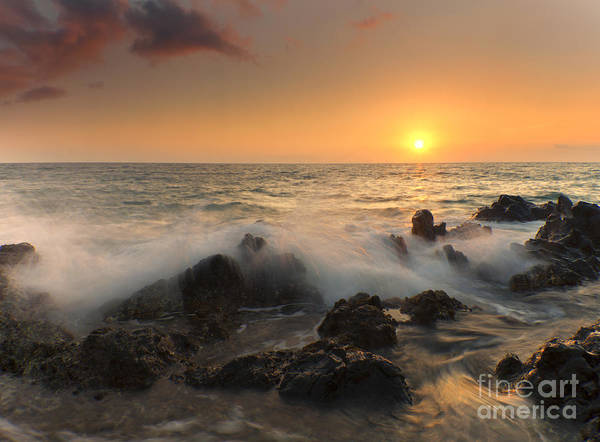 Kihei Photograph - Sunset On The Rocks by Mike  Dawson