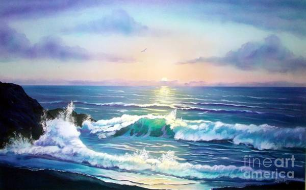 Wall Art - Painting - Sunset On The Sea by Jerry Bokowski