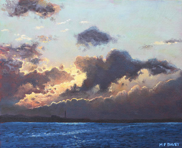 Wall Art - Painting - Sunset On The Solent by Martin Davey