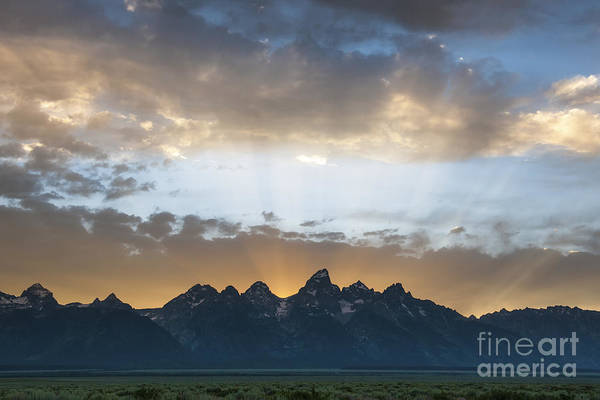 Wall Art - Photograph - Sunset On The Tetons by Sandra Bronstein