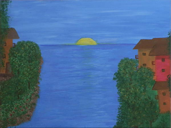 Ione Painting - Sunset On The Water by Ione Hedges