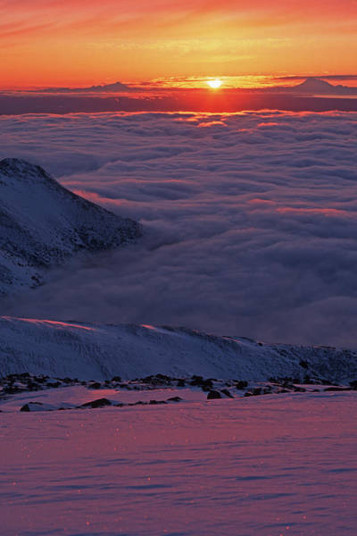 Sunset On Top Of The Clouds Art Print