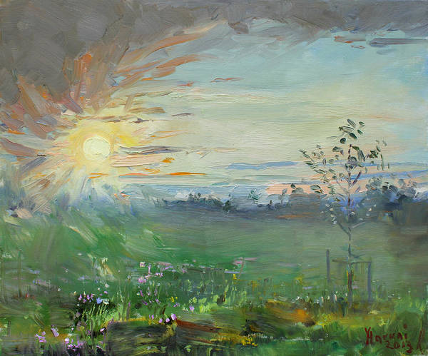 Field Of Flowers Wall Art - Painting - Sunset Over A Field Of Wild Flowers by Ylli Haruni