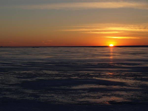 Photograph - Sunset Over A Frozen Lake Erie - 3 by Jeffrey Peterson