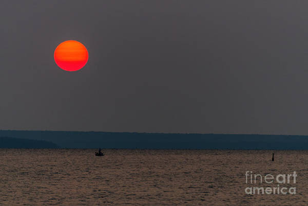 Photograph - Sunset Over Boat by Les Palenik