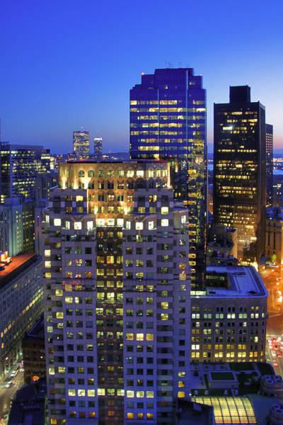 Photograph - Sunset Over Boston - Financial District Skyline by Joann Vitali