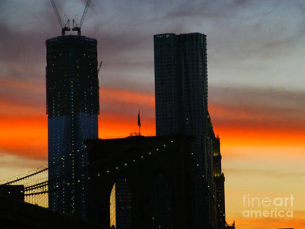 Photograph - Sunset Over Brooklyn Bridge And One Wtc by Steven Spak