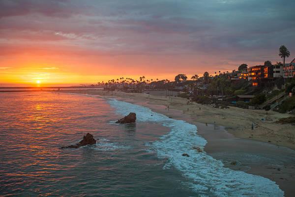 Photograph - Sunset Over Corona Del Mar Beach by Cliff Wassmann
