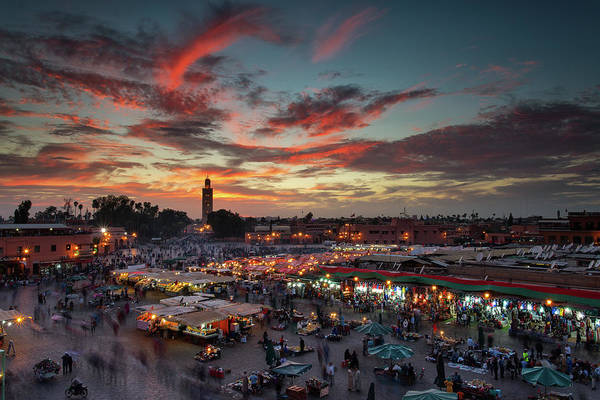 Market Wall Art - Photograph - Sunset Over Jemaa Le Fnaa Square In Marrakech, Morocco by Dan Mirica