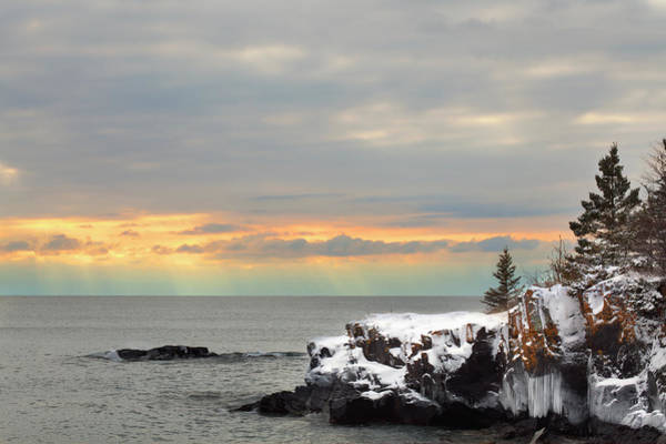 Lake Superior Photograph - Sunset Over Lake Superior by Susan Dykstra / Design Pics