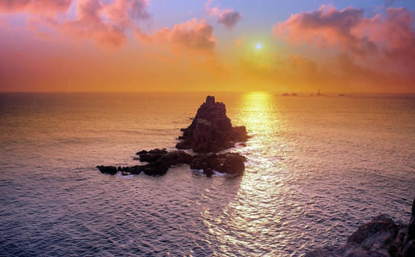 Penwith Photograph - Sunset Over Land's End by Tony Craddock/science Photo Library