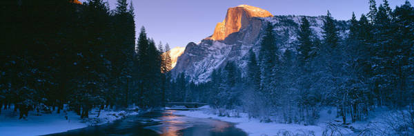 Escarpment Photograph - Sunset Over Merced River And Half Dome by Panoramic Images