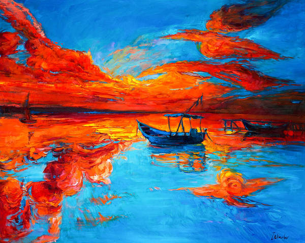 Pastel Drawing Painting - Sunset Over Ocean by Ivailo Nikolov