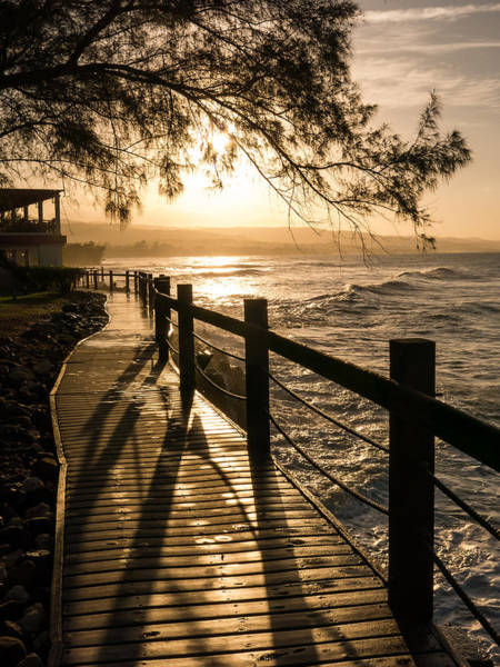 Sunset Over Ocean Walkway Art Print