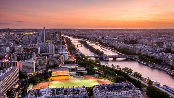Photograph - Sunset Over Paris From The Eiffel Tower by Pierre Leclerc Photography