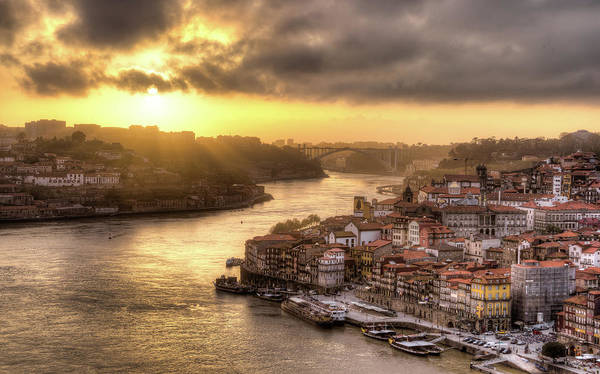 Douro Wall Art - Photograph - Sunset Over Porto, Portugal by Maximilian Müller