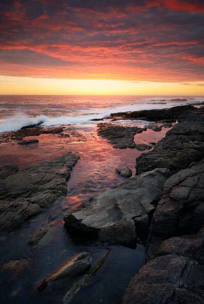 Tidal Photograph - Sunset Over Rocky Coastline by Johan Swanepoel