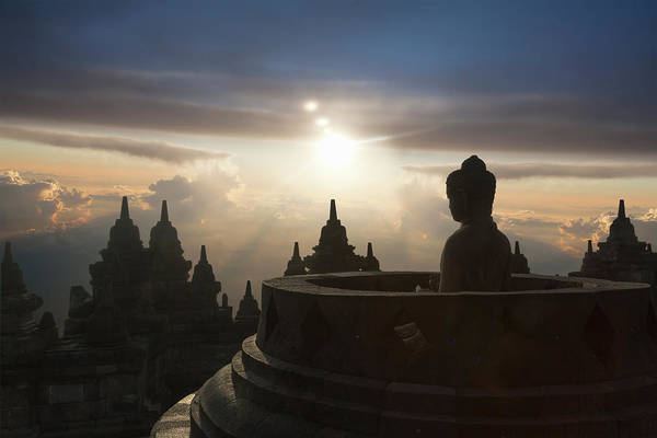 Indonesian Culture Photograph - Sunset Over Stupas Of Buddhist Temple by Buena Vista Images