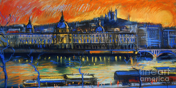 Facade Painting - Sunset Over The City - Lyon France by Mona Edulesco