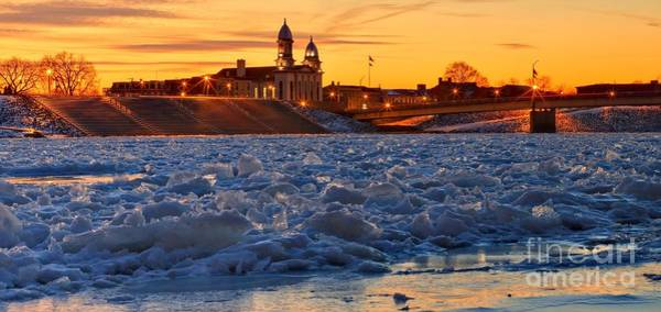 Lock Haven Wall Art - Photograph - Sunset Over The Frozen Susquehanna by Adam Jewell