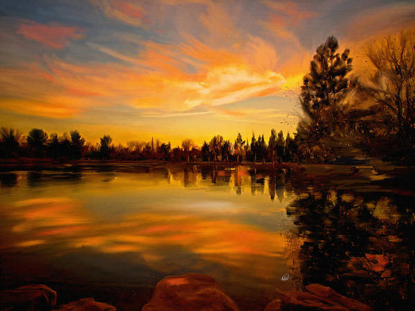 Finger Paint Painting - Sunset Over The Lake by Angela Stanton