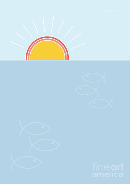 Simple Digital Art - Sunset Over The Sea Background, Flat by Lucky Team Studio
