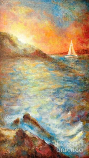 Ocean Scape Painting - Sunset Over The Sea. by Martin Capek