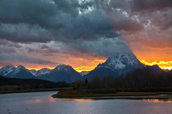 Mount Moran Photograph - Sunset, Oxbow, Mount Moran, Grand Teton by Michel Hersen