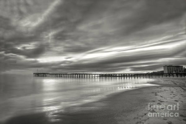 Photograph - Sunset Pier Black And White by Dan Friend
