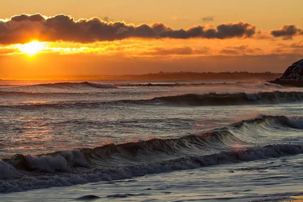 Wall Art - Photograph - Blazing Sunset Crashing Waves by Trevor Nicodemo