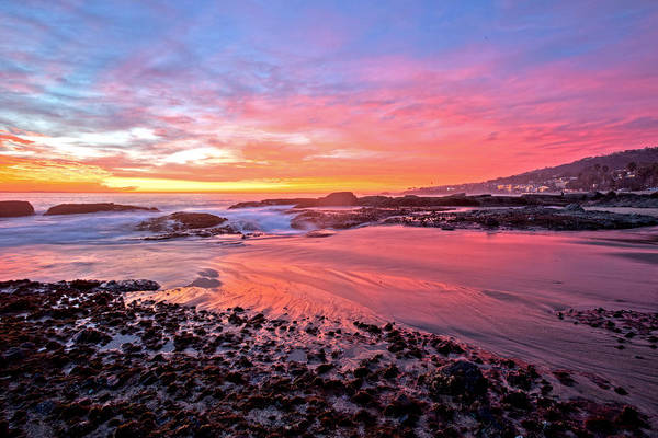 Photograph - Sunset Reflections Aliso Creek Beach by Cliff Wassmann