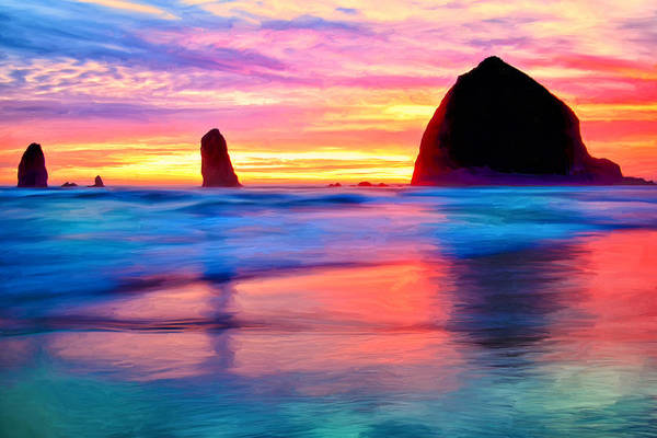Cannon Beach Painting - Sunset Reflections Cannon Beach by Dominic Piperata