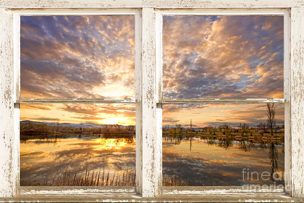 View Through Window Photograph - Sunset Reflections Golden Ponds 2 White Farm House Rustic Window by James BO Insogna