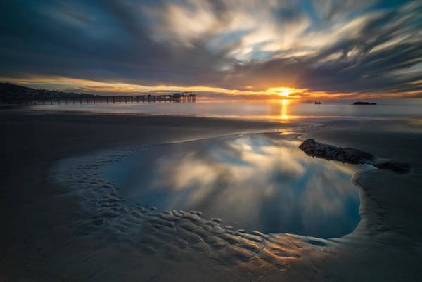 Southern Photograph - Sunset Reflections In San Diego Landscape Version by Larry Marshall
