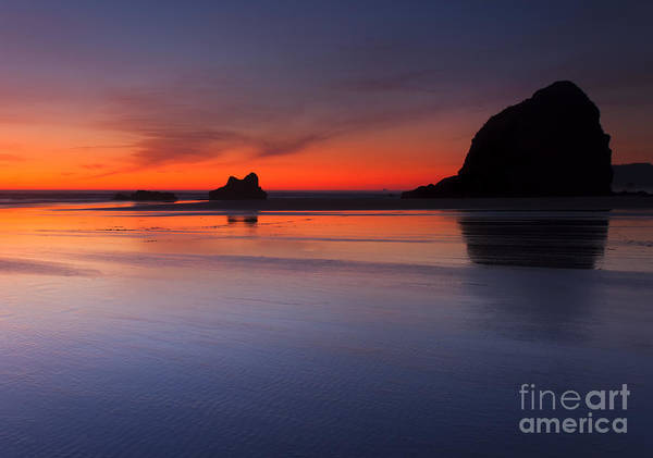 Cannon Beach Photograph - Sunset Reflections by Mike  Dawson