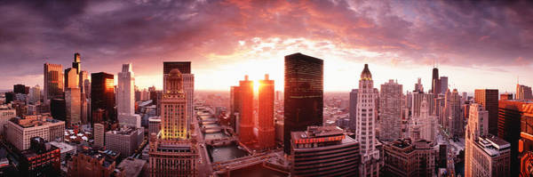 Rise Above Wall Art - Photograph - Sunset River View Chicago Il by Panoramic Images