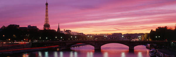 Across Photograph - Sunset, Romantic City, Eiffel Tower by Panoramic Images