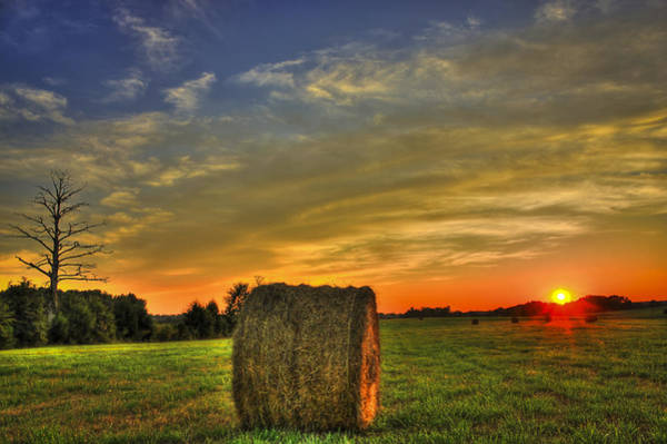 Photograph - Sunset Round Bale Lick Skillet Road by Reid Callaway