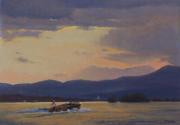 Bolton Landing Wall Art - Painting - Sunset Run To Bolton Landing by Marianne Kuhn